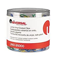 Universal Paper Clips, Vinyl Coated Wire, Jumbo-Assorted-250 ct