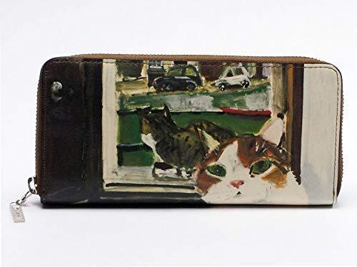 7c434e092103 マンハッタナーズ 牛皮ラウンドファスナー 長財布 アムステルダムの運河猫 (75-1017-OLV) Manhattaner's 猫 財布 革 財布  サイフ