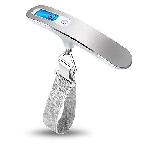 Bodyguard 旅行はかり デジタル計量器 50kgまで量れる 吊り下げ式 風袋引き機能付 バックライト付 携帯式 スケール シルバー