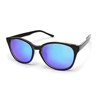 (トライバル)TRIBAL しっかり濃いめのミラーレンズ UVカット ウェリントンタイプサングラス ブラック