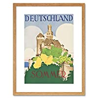 Deutschland Germany Summer Castle Hohlwein Sommer Picture Framed Wall Art Print ドイツ夏城画像壁