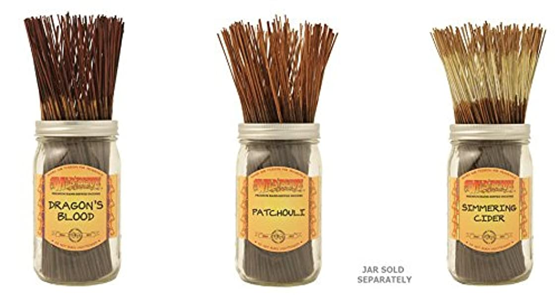 Wildberry Incense Sticks Best Sellerのセット3 Scents – Dragon 's Blood、パチュリSimmeringサイダー(各、100のパック合計300 Sticks)