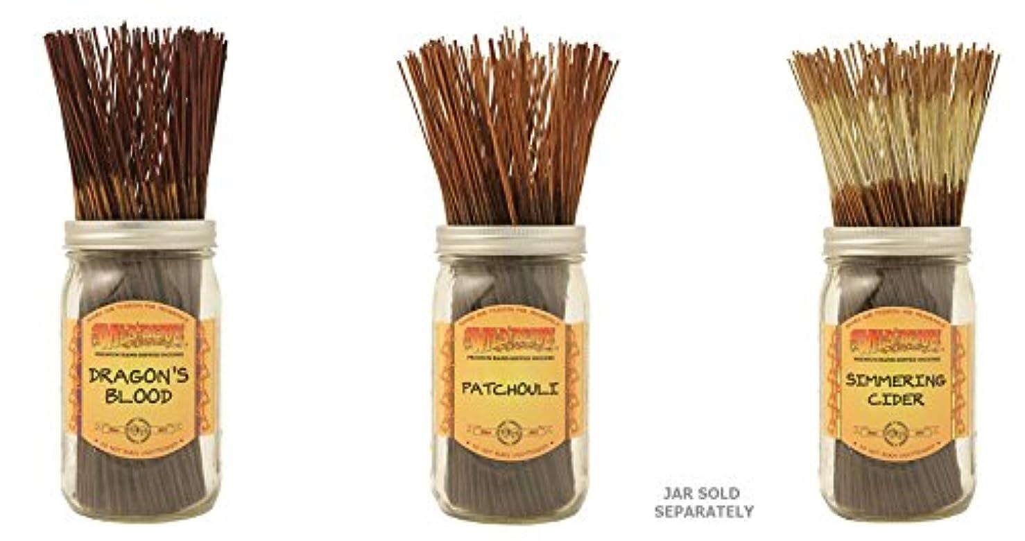 粗い統治可能郵便物Wildberry Incense Sticks Best Sellerのセット3 Scents – Dragon 's Blood、パチュリSimmeringサイダー(各、100のパック合計300 Sticks)