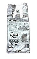 シルバー レジ袋 100枚入 250(150+100)×350mm 厚さ0.02mm 西日本 25号 東日本 8号 TC-25
