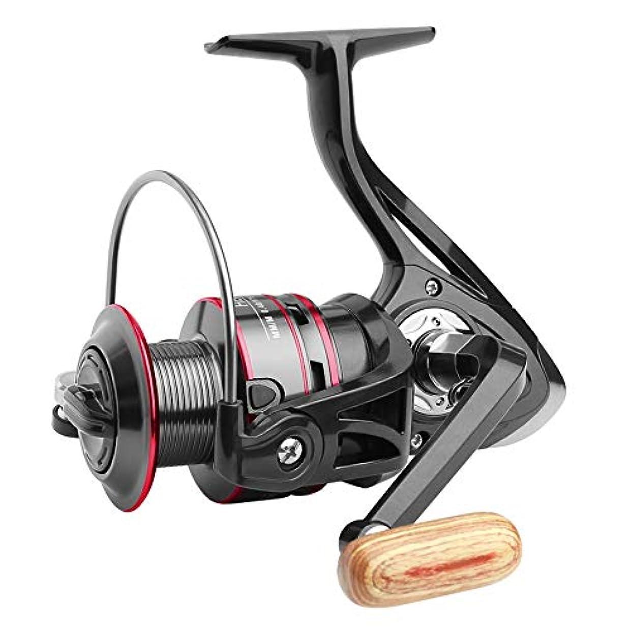 砂の取り組む落ち着かないHYBJP スピニングリール 軽量 12 BB 淡水釣り 海釣り 精密 高強度 5.2:1 500-7000 (Color : ブラック, Size : 5000)