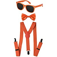 Dress Up America Kids Neon Suspender, Bow-tie Accessory Set
