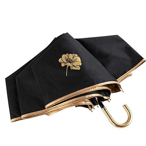 日傘 折りたたみ傘 ブラック 黒 超軽量 携帯しやすい 紫外線遮蔽率99% UPF50+ 紫外線対策 (ブラック)