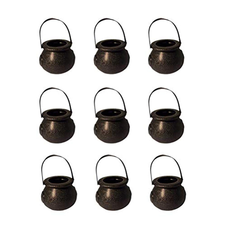 加害者保証する調整可能9ピースハロウィンキャンディーバケツ魔女ポータブルバケツ用ハロウィンパーティー収納瓶黒