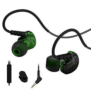 Rovking 有線 防汗 高遮音性 高音質 耳掛け式 カナル型イヤホン リモコン 音量調節 マイク付き ジョギング ランニング トレーニング スポーツ用 ipad iphone ipod mp3 android スマホ対応(グリーン)