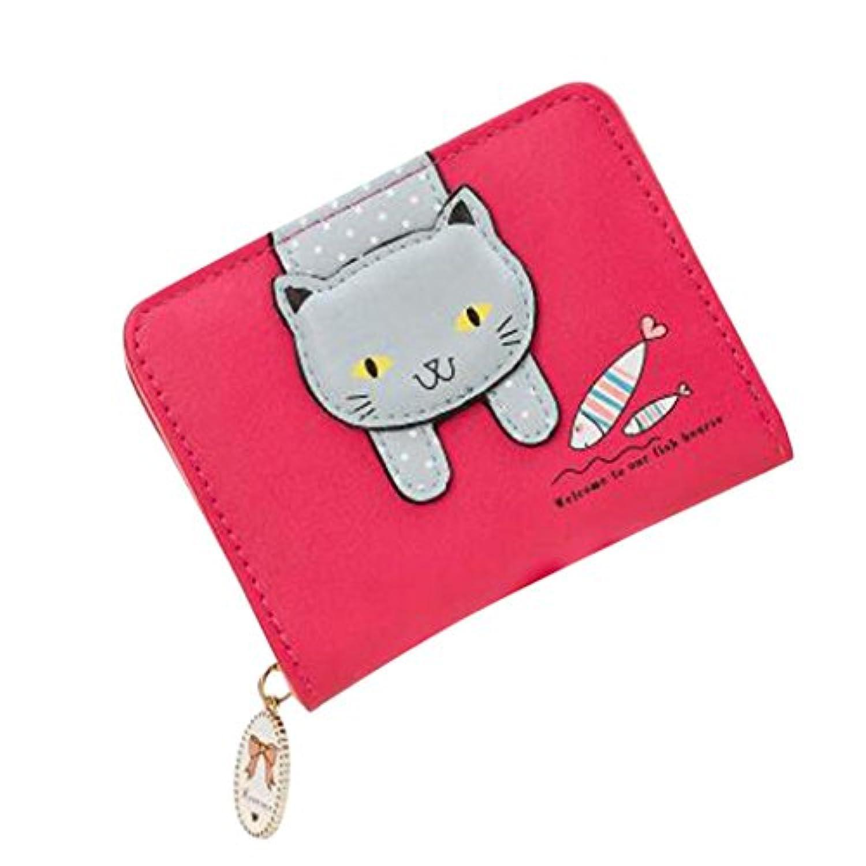 E-Bears 女性用 レザー ジッパー 財布 レディーズ ウォレット 可愛い 猫 子供 少女 小銭入れ カードホルダー (ホットピンク)