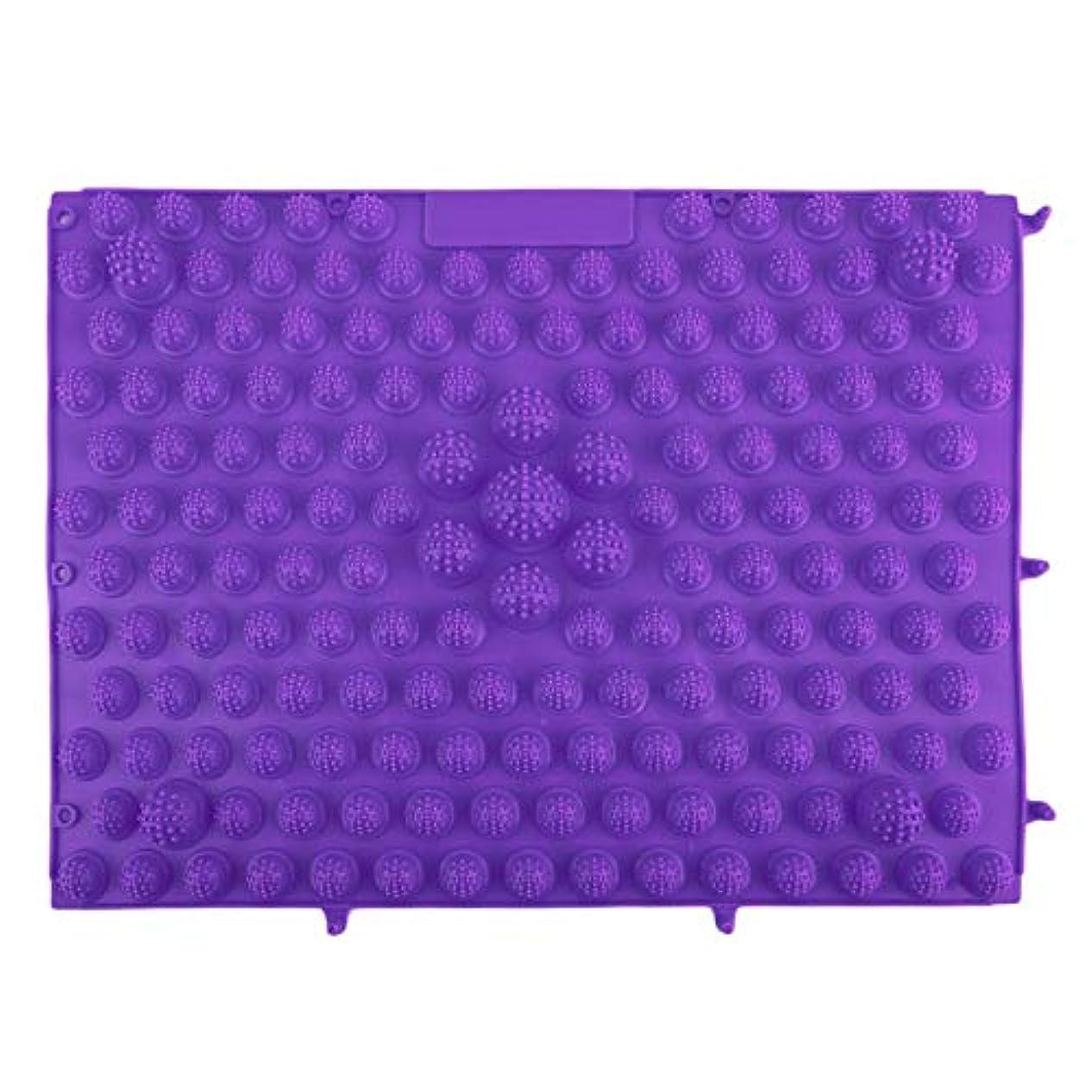 韓国風フットマッサージパッドTPEモダン指圧リフレクソロジーマット鍼灸敷物疲労緩和促進循環 - 紫色