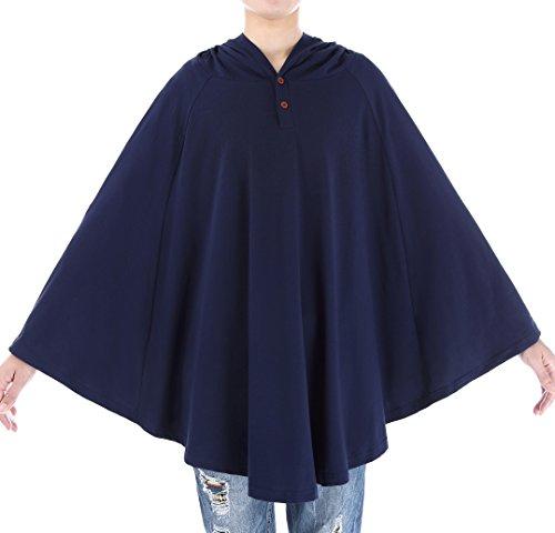 Belle Poque 授乳ケープ レディースファッション 360°安心授乳 フード付き 授乳ポンチョ 多機能 肌に優しいマタニティウェア 出産祝い 授乳カバー 綿 (ブルー)
