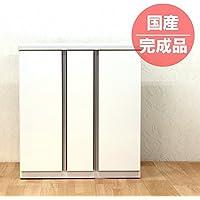 日本製 幅85cm シューズボックス くつ箱 下駄箱 玄関収納 ホワイト 完成品