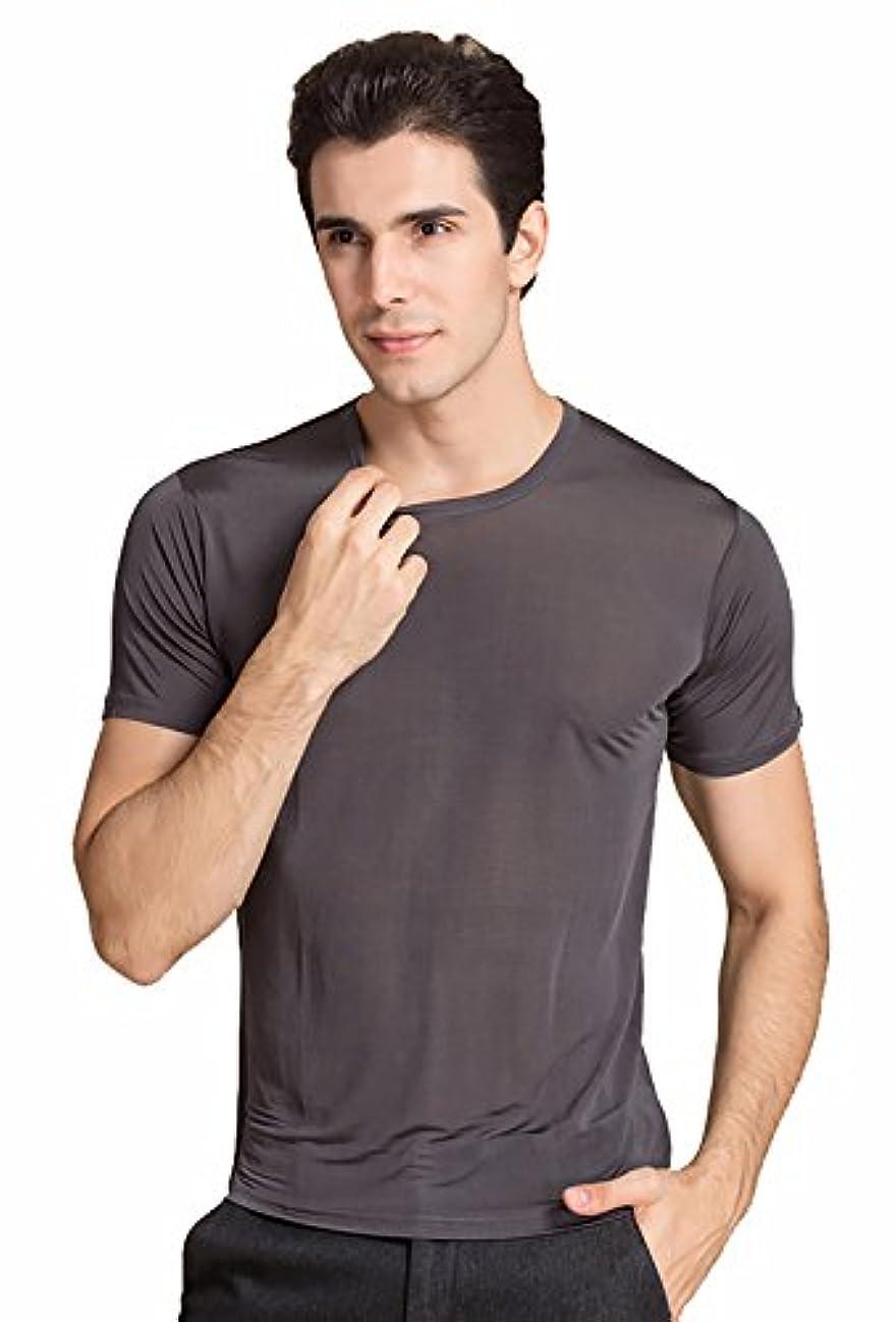 最高ランク特徴づける(ケイミ)KEIMI メンズ シャツ 半袖 丸首 無地 100%シルク 絹 吸湿 速乾 夏 ビジネス tシャツ