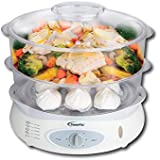 PowerPac PPE738 2 Tier Intelligent Electric Food Convenient Steamer 1200 watts, 12.8L White