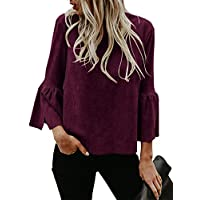Kathemoi Womens Bell Sleeve Suede Top Crew Neck Casual T Shirt Blouse Pullovers