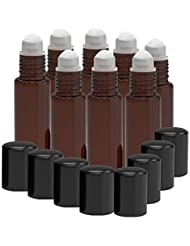 8 Pack - Essential Oil Roller Bottles [PLASTIC ROLLER] 10ml Refillable Glass Color Roll On for Fragrance Essential...