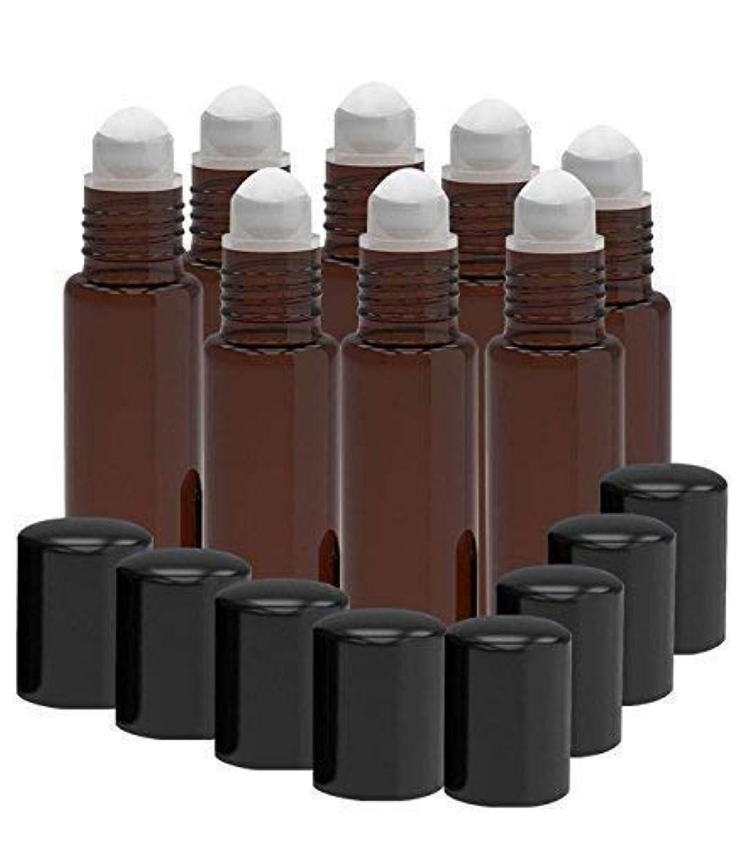 絶対のバンジージャンプ幸運な8 Pack - Essential Oil Roller Bottles [PLASTIC ROLLER] 10ml Refillable Glass Color Roll On for Fragrance Essential...