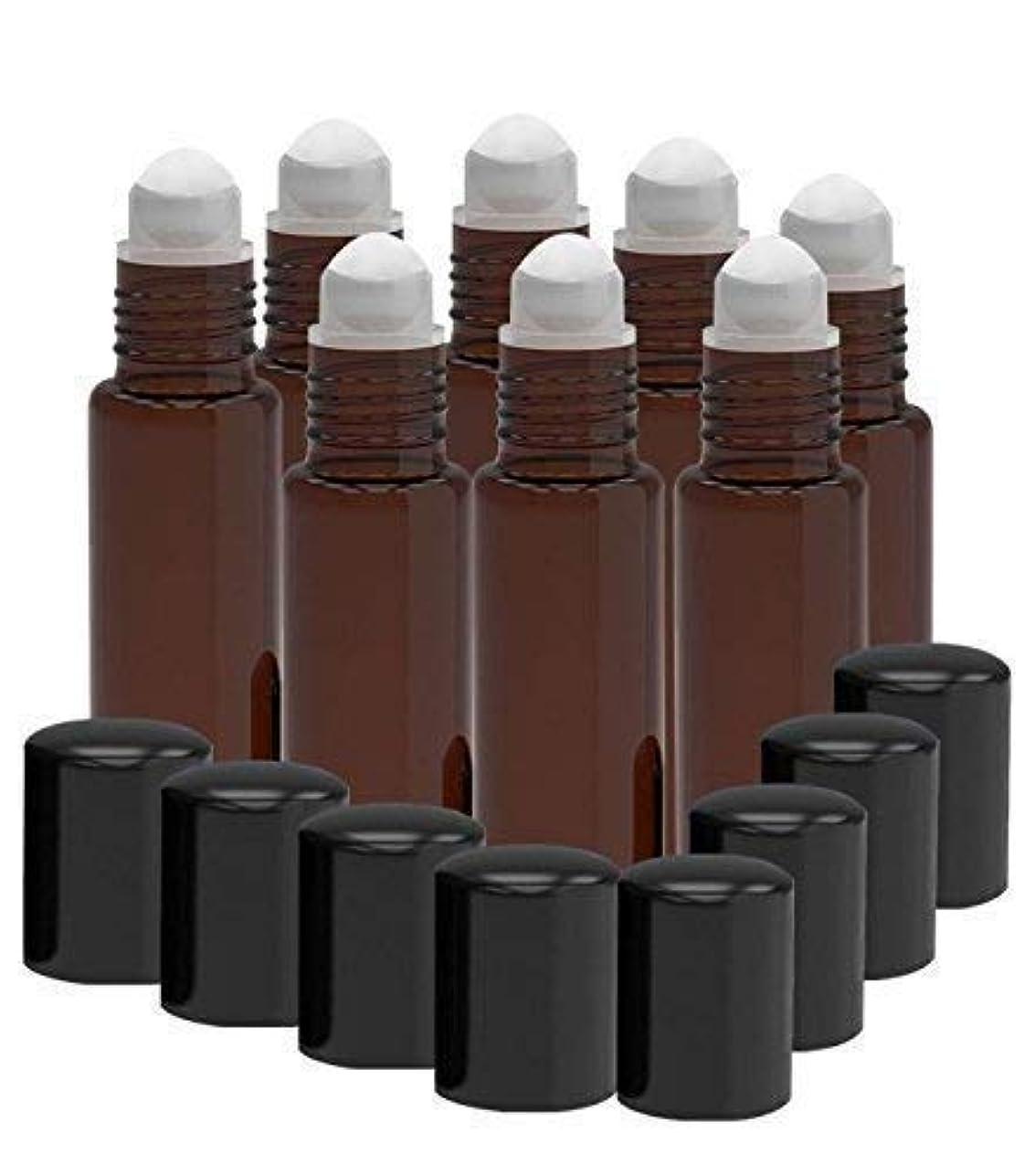 切り離す不公平盟主8 Pack - Essential Oil Roller Bottles [PLASTIC ROLLER] 10ml Refillable Glass Color Roll On for Fragrance Essential...