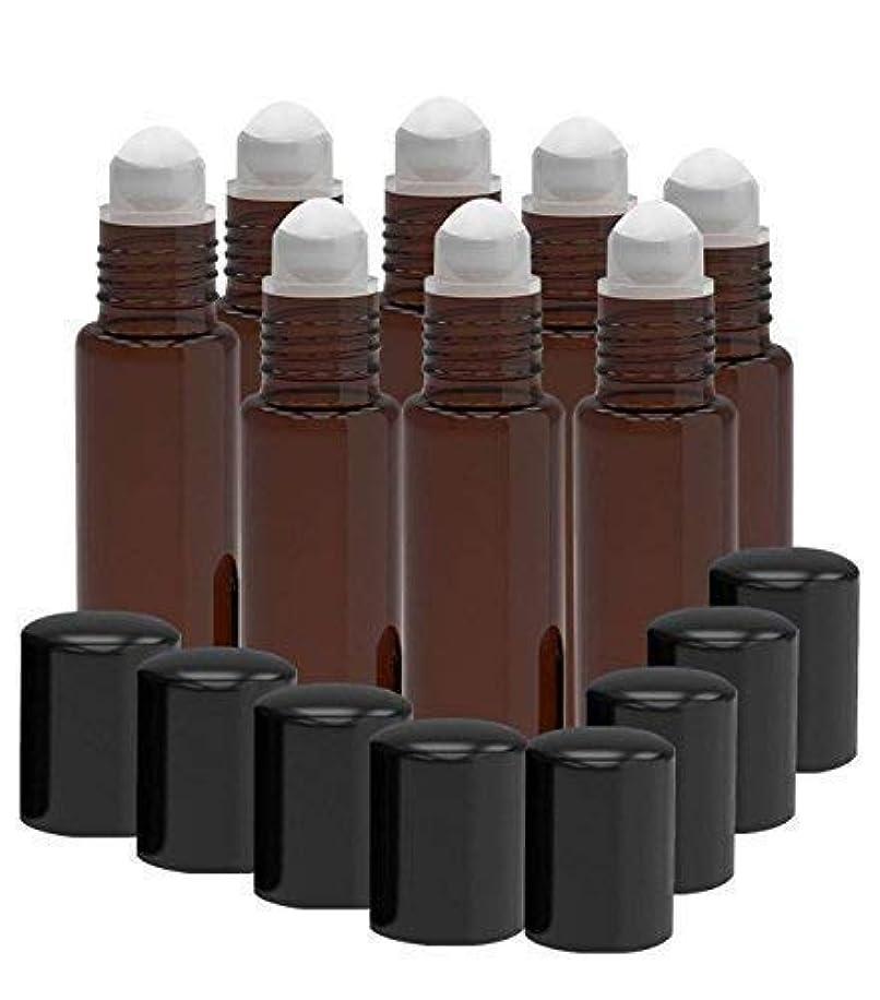 ブラザー聴覚障害者十分に8 Pack - Essential Oil Roller Bottles [PLASTIC ROLLER] 10ml Refillable Glass Color Roll On for Fragrance Essential...