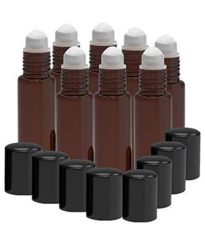 デュアルいま最終的に8 Pack - Essential Oil Roller Bottles [PLASTIC ROLLER] 10ml Refillable Glass Color Roll On for Fragrance Essential...