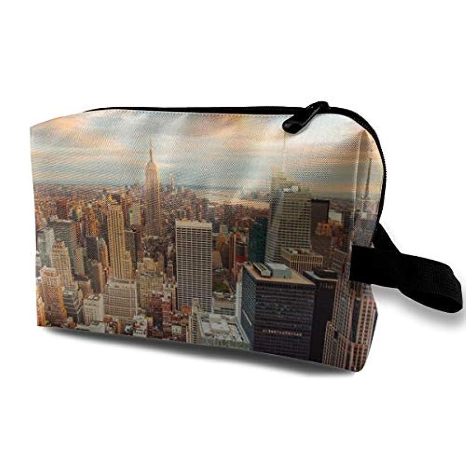 耐えられる巨大利点Skyline View NYC 収納ポーチ 化粧ポーチ 大容量 軽量 耐久性 ハンドル付持ち運び便利。入れ 自宅?出張?旅行?アウトドア撮影などに対応。メンズ レディース トラベルグッズ