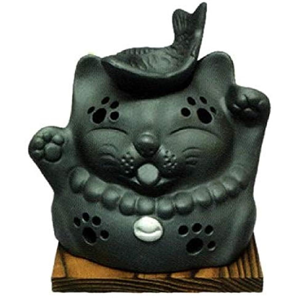 撃退するセグメントストラップ常滑焼?山房窯 カ39-12 茶香炉 猫と魚 杉板付 径12.5×12cm