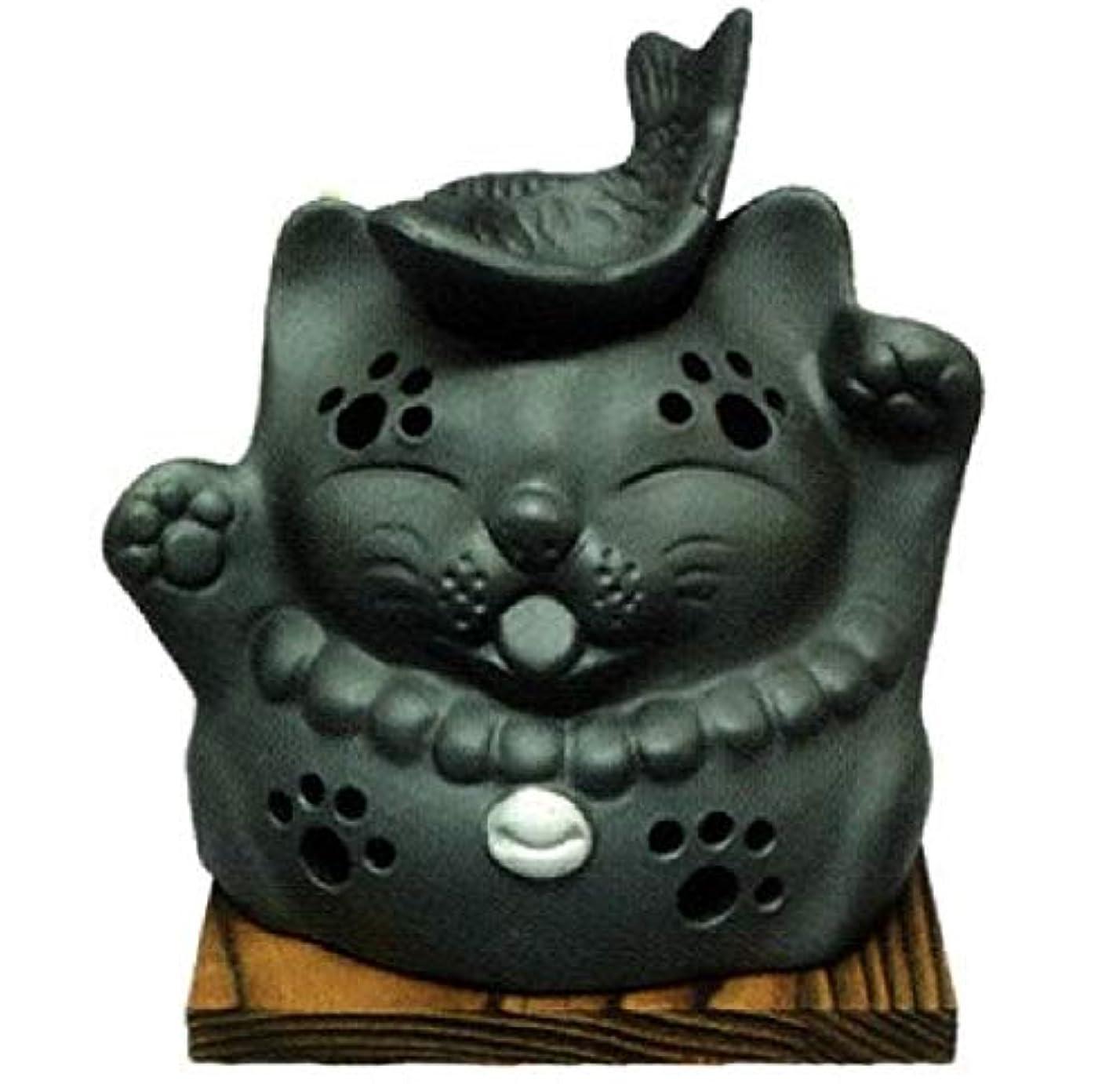 楽しい遺伝子中毒常滑焼?山房窯 カ39-12 茶香炉 猫と魚 杉板付 径12.5×12cm