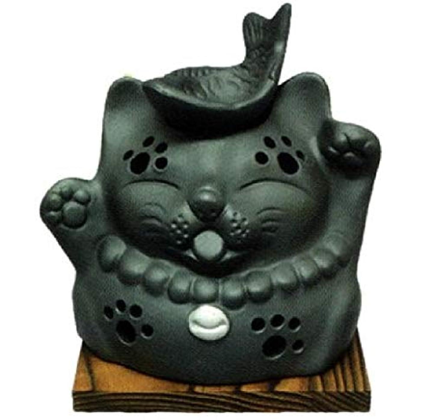 ダウンフルートハミングバード常滑焼?山房窯 カ39-12 茶香炉 猫と魚 杉板付 径12.5×12cm