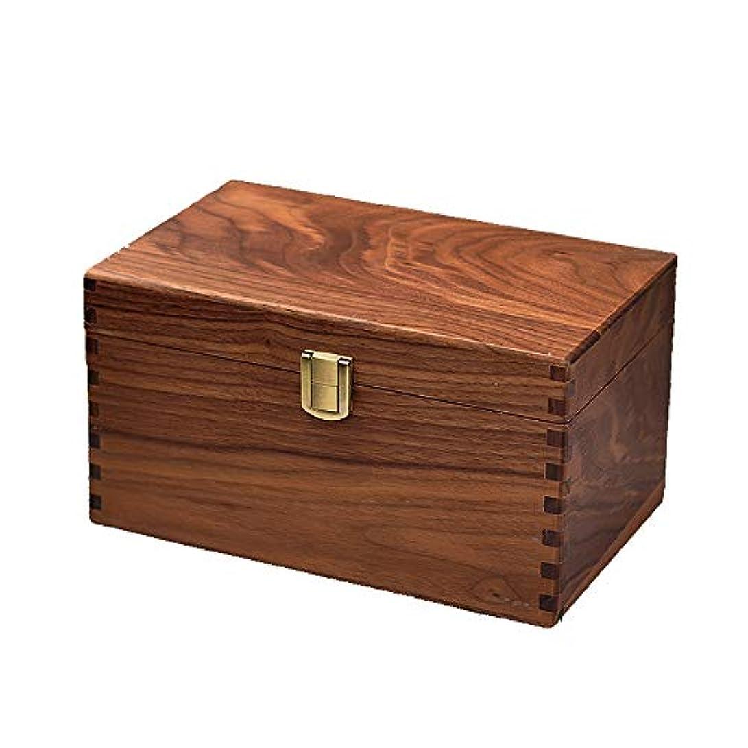 悪魔豪華なパシフィックエッセンシャルオイルの保管 手作りの装飾的な木のエッセンシャルオイルボックスオーガナイザージュエリーボックスパーフェクトエッセンシャルオイルケース (色 : Natural, サイズ : 24.5X15.5X13CM)