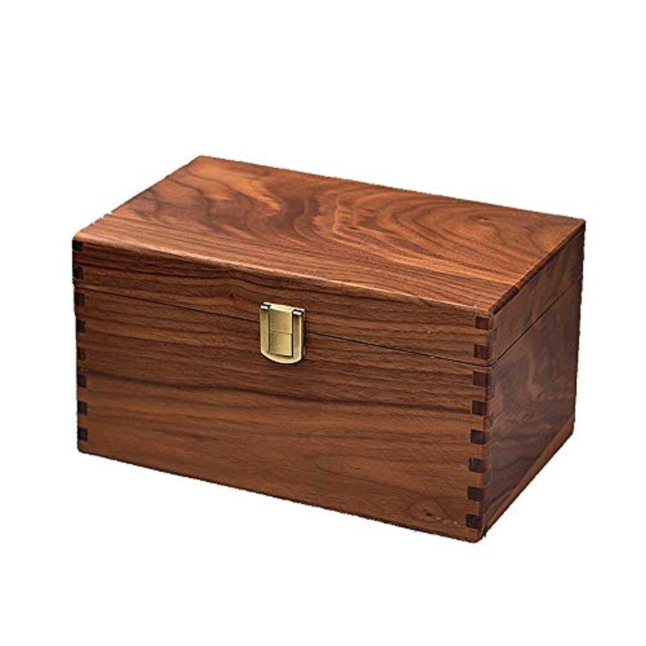 咲く指定縞模様の手作りの装飾的な木のエッセンシャルオイルボックスオーガナイザージュエリーボックスパーフェクトエッセンシャルオイルケース アロマセラピー製品 (色 : Natural, サイズ : 24.5X15.5X13CM)