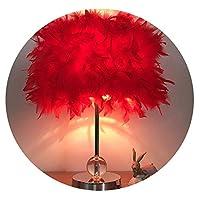 フェザーテーブルランプ寝室のベッドサイドランプシンプルでモダンなマスターウェディングクリエイティブヨーロッパ公共ロマンチックな部屋暖かい光暖かいベッドサイドランプ,ラージプレミアムレッドビッグ - LEDを送る