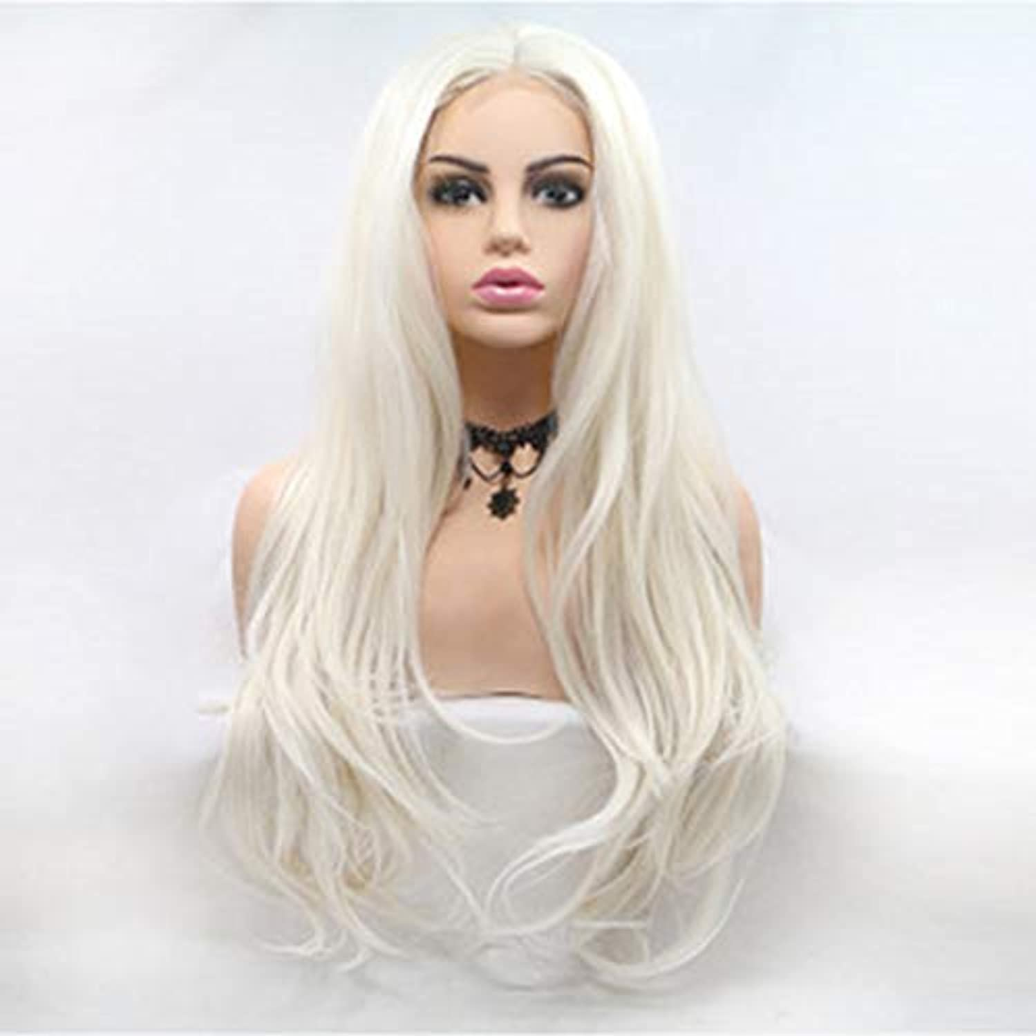 将来の関与するようこそヘアピース ヨーロッパとアメリカの化学繊維レースの長い巻き毛の白い女性のかつらは、魅力と美しさの自然な髪のかつらを追加します