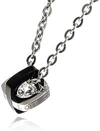 [ナピスト] ネックレス メンズ サージカル ステンレス キュービックジルコニア 50cm チェーン ブラック 128