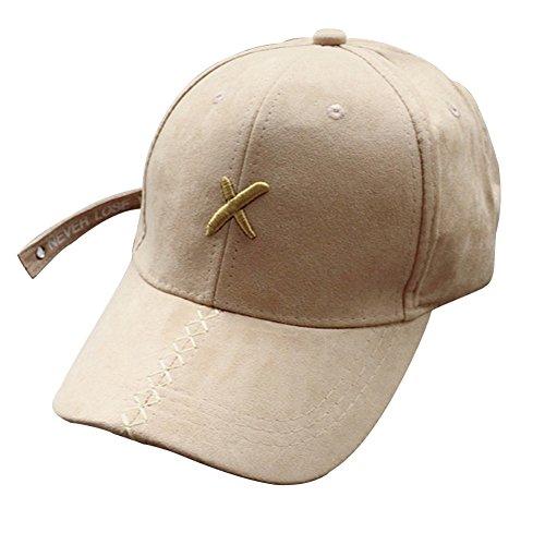 刺繍 ロゴマーク X カラー ワークキャップ [ベージュ] レディース メンズ ステッチ 帽子 ハット アルファベット イニシャル