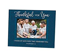 Thankful for You Philippians 1:3 Glass Picture Frame, Holds a 5 1/2 Inch x 3 1/2 Inch Photo [並行輸入品]