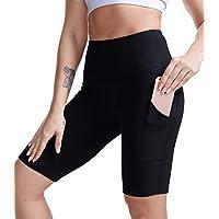 TYUIO Women High Waist Yoga Shorts Side Pocket Gym Workout Running Biker Shorts