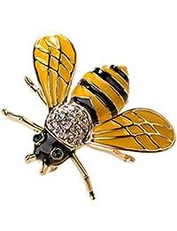 GuDeKe キラキラ ラインストーン ジュエリー アクセサリー ビー 蜂 ミツバチ ブローチ ラペルピン