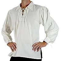 Keaac メンズ中世ターンダウンロングスリーブスリーブビクトリアトップシャツ White S