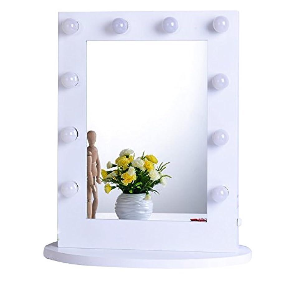 私達パプアニューギニアリーク女優ミラー 女優鏡 大型 壁掛け LED ライト付き コンセント付き 無段階調光 化粧鏡 ハリウッドミラー ドレッサー (ホワイト)