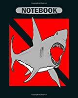 Notebook: great white shark diving with diver down flag4 - 50 sheets, 100 pages - 8 x 10 inches