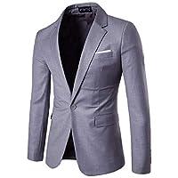 GodeyesW メンズラペル特大ビジネスロングスリーブラウンジポケットブレザースーツコート Light Grey 4XL
