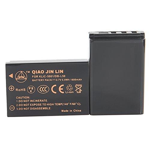 QIAOJINLIN 2個 完全互換バッテリー 予備電池 対応 Kodak コダック KLIC-5001 EasyShare P880 Z730 Z7590 Z760 DX6490 Z760 Zoom DX7440 Zoom DX7590 Zoom DX7630 Z7590 Zoom P850 DX7440 Z730 Zoom Z730 P712 SANYO Xacti DMX-WH1 VPC-HD2000 DMX-HD1010 DMX-FH1?DMX-FH11 VPC-WH1 DMX-HD1000 DMX-HD2000 VPC-HD1010 VPC-HD1000 VPC-TH1 カメラ