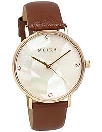 [メイカ]MEIKA 腕時計 36mm パール文字盤 ブラウンベルト ファッション レディース