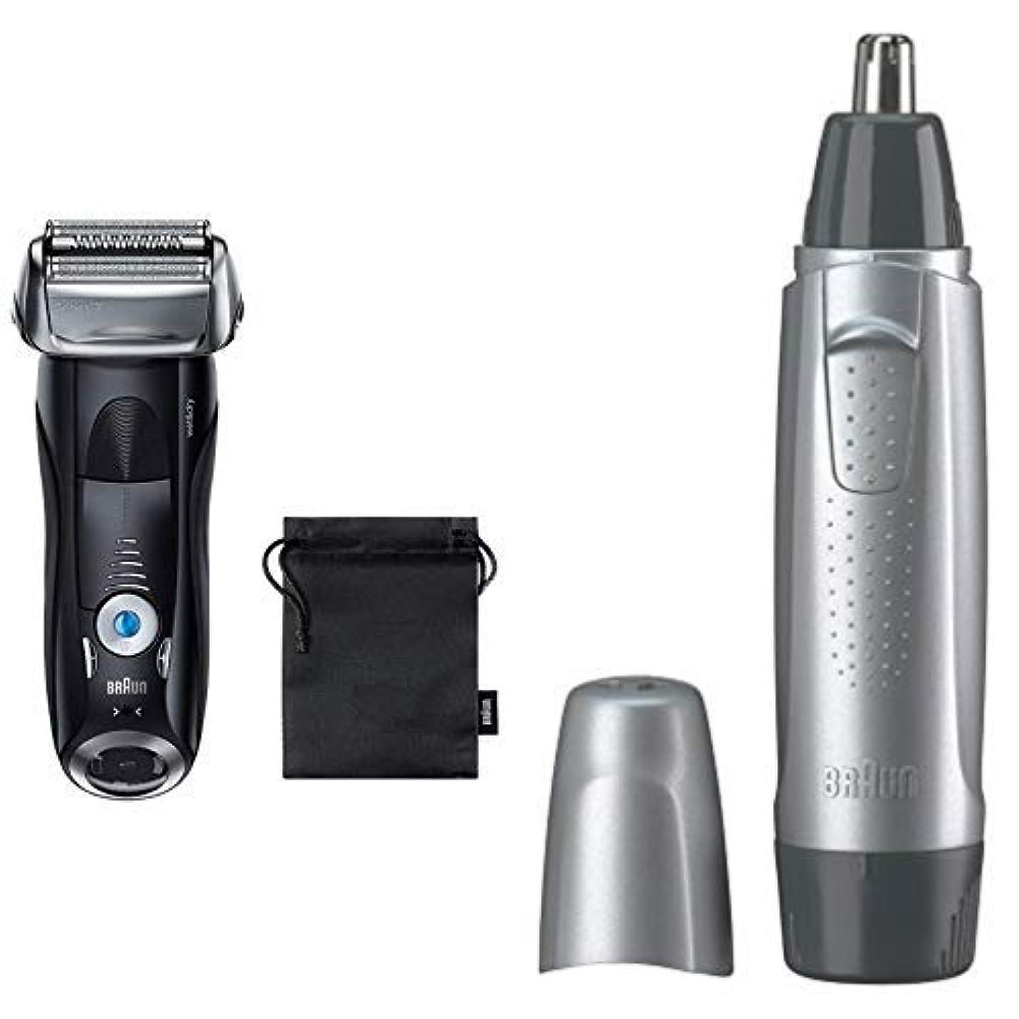 朝現象前述の【セット買い】ブラウン メンズ電気シェーバー シリーズ7 7842s-P + 鼻毛カッター EN10