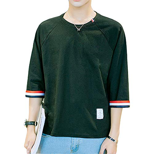 7f15c75197761f 夏服 メンズ Tシャツ 半袖 Tシャツ 五分袖 七分袖 カジュアル ゆったり 日常