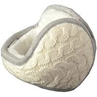 Chinashow Unisex Winter Warm Rear Wear Knitted Folding Earmuffs Ear Warmers,White