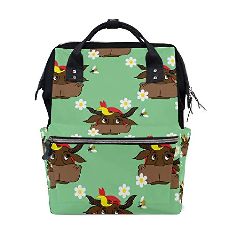 ママバッグ マザーズバッグ リュックサック ハンドバッグ 旅行用 牛と花柄 緑 ファション