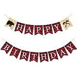 ハッピーバースデーバナー ランバージャックティンバー格子柄 誕生日パーティー写真背景装飾 男の子 女の子用