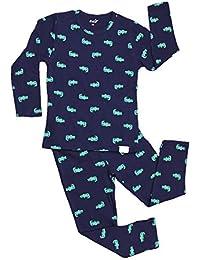 子供パジャマボーイズパジャマ綿ラウンジウェアセット、ダークブルー長袖ズボン小さなクロコダイルパターン、児童女の子男の子上下2点セット秋ホームサービス、100cm